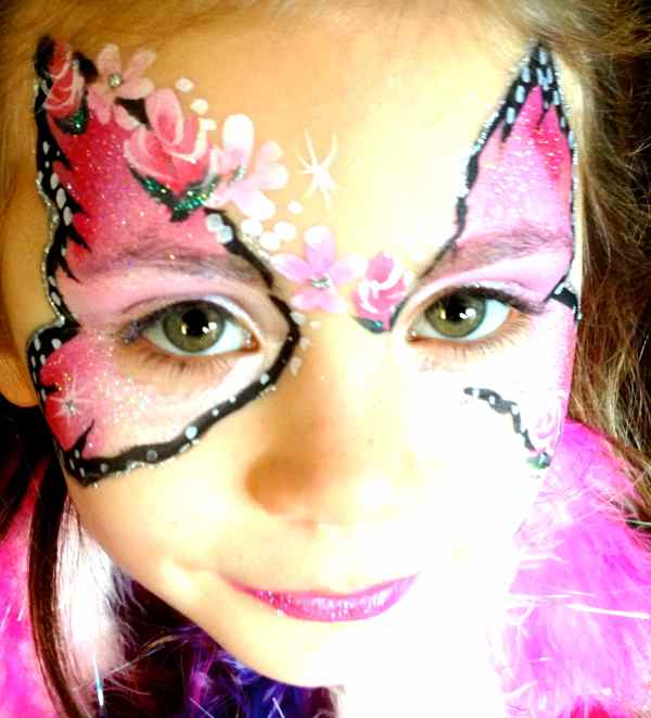 face painting pink butterfly